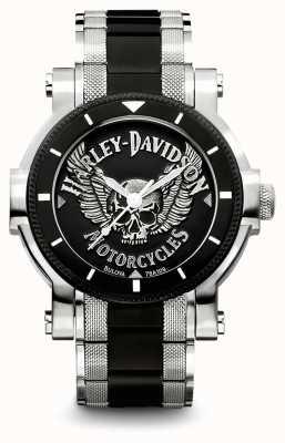 Harley Davidson Mens pulseira de aço inoxidável de dois tons | mostrador preto 78A109