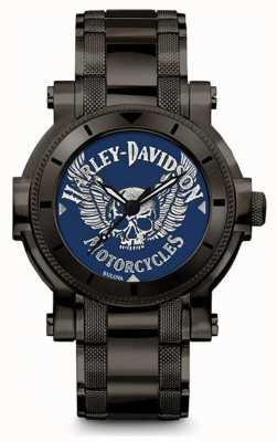 Harley Davidson Homens para ele | pulseira de aço inoxidável preto | mostrador azul 78A117