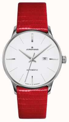 Junghans Meister damen automatic | pulseira de lagarto genuíno vermelho 027/4844.00
