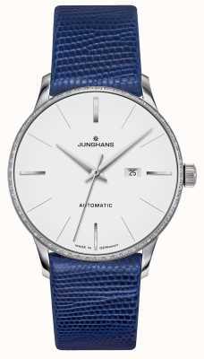 Junghans Meister damen automatic | conjunto de diamantes | pulseira de lagarto azul 027/4846.00