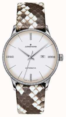 Junghans Meister damen automatic | diamantes | Correias de python e lagarto 027/4847.00