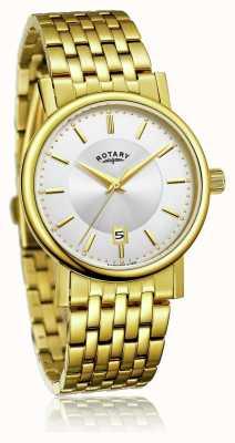 Rotary Mens slim banhado a ouro pulseira de aço inoxidável | mostrador prateado GB03635/03