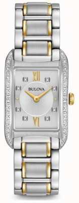 Bulova Diamante de prata feminino conjunto de quartzo 98R227