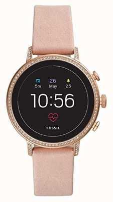 Fossil Conectado q venture hr relógio inteligente blush conjunto de pedra de couro FTW6015