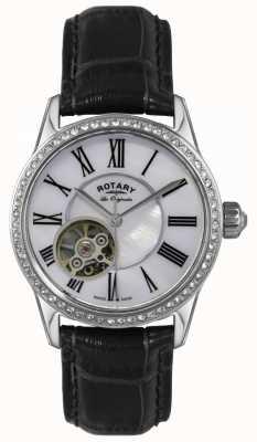 Rotary Womens | les originales | automático | pulseira de couro preto LS90511/38