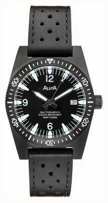 Alsta Nautoscaph iii | pulseira de couro preto | caso ip preto NAUTOSCAPH III
