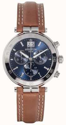 Michel Herbelin Mens newport pulseira de couro marrom mostrador azul 36654/AP15GO