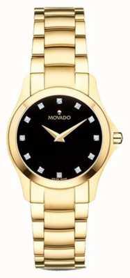 Movado | relógio moisan das mulheres | tom dourado | mostrador preto | 0607028