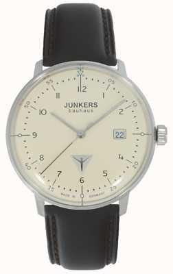 Junkers Bauhaus creme dial pulseira de couro marrom assistir 6046-5