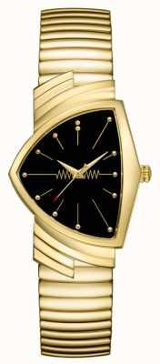 Hamilton | ventura relógio de quartzo | mostrador preto | pulseira flexível | H24301131