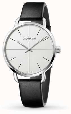Calvin Klein | mesmo relógio de extensão | pulseira de couro preto | mostrador branco | K7B211CY