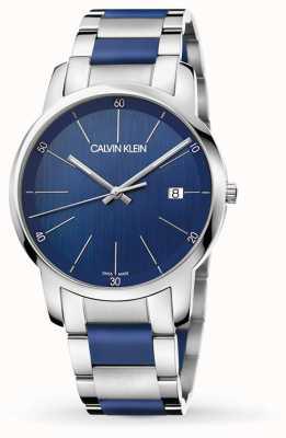 Calvin Klein | extensão da cidade mens | aço inoxidável de dois tons | mostrador azul K2G2G1VN