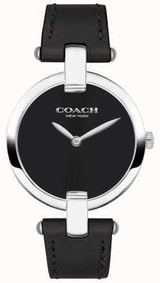 Coach | relógio chrystie das mulheres | couro preto e aço | 14503091