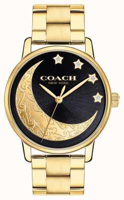 Coach | grande relógio das mulheres | ouro com lua detalhando no rosto | 14503278
