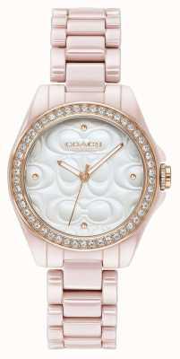 Coach | relógio do esporte moderno das mulheres | rosa com cara branca | 14503256