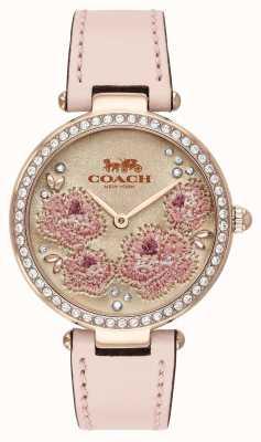 Coach | relógio do parque das mulheres | pulseira de couro rosa | 14503285