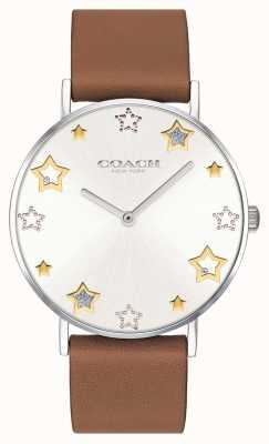 Coach | relógio de perry para mulher | pulseira de couro marrom | 14503242