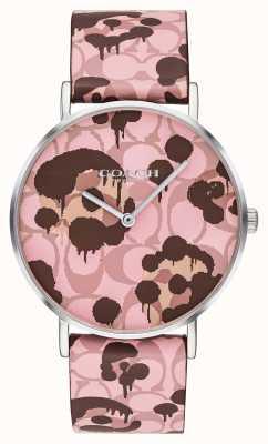 Coach | relógio de perry para mulher | cinta de couro rosa design floral | 14503246