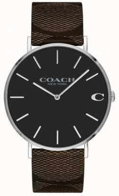 Coach | relógio dos homens charles | pulseira de couro marrom | 14602156