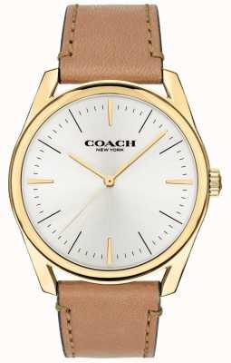 Coach | relógio de luxo moderno para homem | pulseira de couro marrom mostrador branco | 14602398