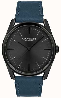 Coach | relógio de luxo moderno para homem | pulseira de couro azul | 14602399