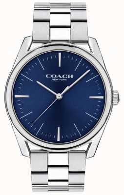 Coach | relógio de luxo moderno para homem | mostrador azul em aço inoxidável | 14602401