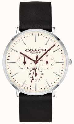 Coach | relógio varick mens | pulseira de couro preto mostrador branco | 14602387