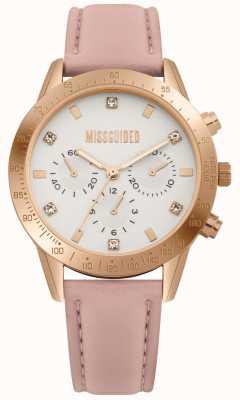 Missguided | relógio de senhora | pulseira de couro rosa | MG004PRG