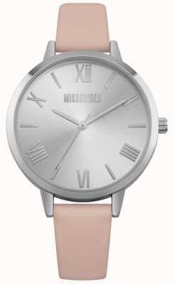Missguided | relógio de senhora | pulseira de couro rosa mostrador prateado | MG001P