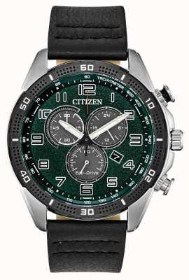 Citizen A ação Eco-drive exigiu o couro de mostrador verde dos homens wr100 AT2441-08X