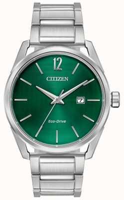 Citizen Mostrador verde pulseira de metal eco-drive masculino BM7410-51X