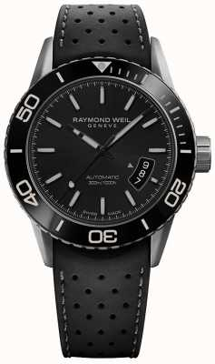 Raymond Weil | freelancer para homens | pulseira de borracha preta | item ex-display | 2760-TR1-20001-EXDISPLAY