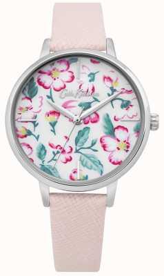 Cath Kidston | relógio de flor de escalada para mulher | couro rosa | mostrador floral CKL069P