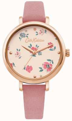 Cath Kidston | relógio bracelete das mulheres ditsy | pulseira de couro rosa | CKL079PRG