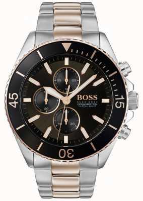 Boss | edição do oceano dos homens | aço inoxidável de dois tons | mostrador preto 1513705