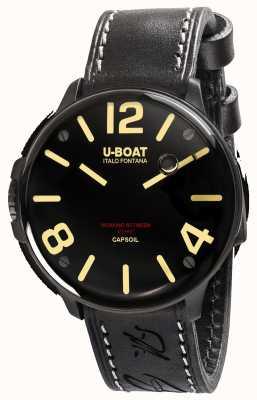 U-Boat Correia de couro preta eletromecânica Capsoil dlc 8108
