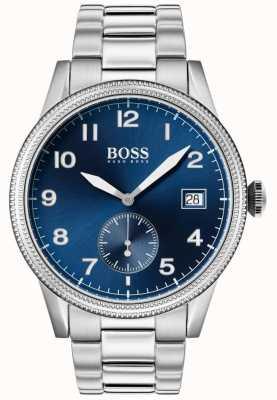 Hugo Boss   relógio legado mens   aço inoxidável   mostrador azul   1513707