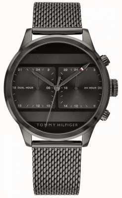 Tommy Hilfiger | relógio de malha preta masculina mostrador preto | 1791597