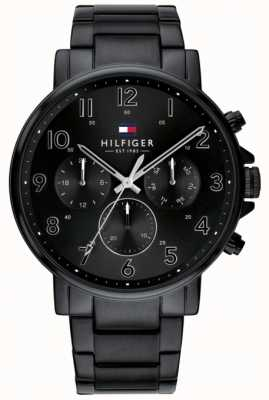 Tommy Hilfiger Daniel pulseira de aço ip preto | mostrador preto 1710383