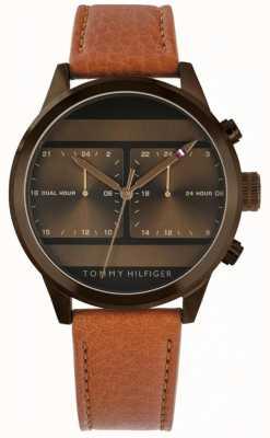 Tommy Hilfiger | relógio de couro marrom mens | 1791594
