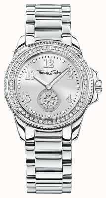 Thomas Sabo | relógio de aço inoxidável glam & soul para mulher | mostrador prateado | WA0235-201-201-33