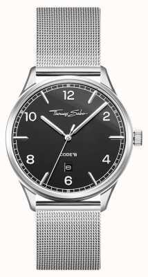 Thomas Sabo | pulseira de malha de prata de aço inoxidável | mostrador preto | WA0339-201-203-40