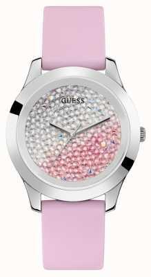Guess   paixão por mulheres   pulseira de borracha rosa   discagem de dois tons   W1223L1