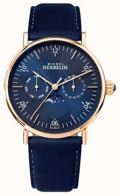 Michel Herbelin Mens montre inspiração moonphase mostrador azul pulseira azul 12747/PR15BL