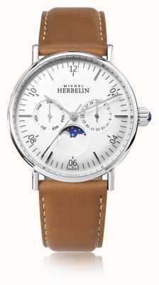 Michel Herbelin Montre inspiração moonphase pulseira de couro marrom mostrador branco 12747/AP11GO