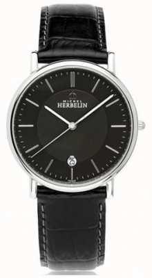 Michel Herbelin Mens classique pulseira de couro preta mostrador preto 12248/14