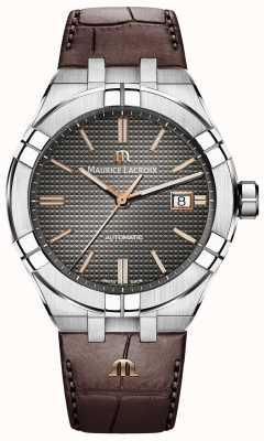 Maurice Lacroix Aikon pulseira de couro marrom automático antracite AI6008-SS001-331-1
