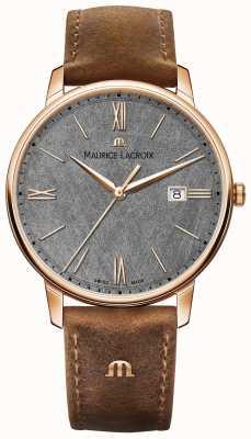 Maurice Lacroix Eliros data texturizado mostrador pulseira de couro marrom EL1118-PVP01-210-1