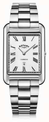 Rotary | pulseira de aço inoxidável para senhores | mostrador branco | GB05280/01