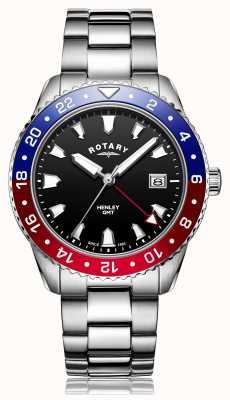 Rotary | pulseira de aço inoxidável para senhores | mostrador preto | GB05108/30